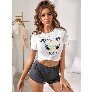 2 Piece Loungewear Set Tee + Shorts Pajamas